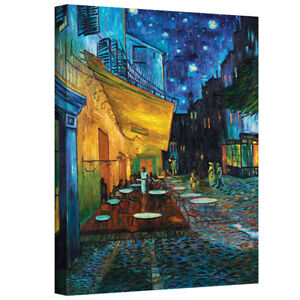 """Stretched canvas painting """"Terrace at Night"""" by Vincent Van Gogh"""