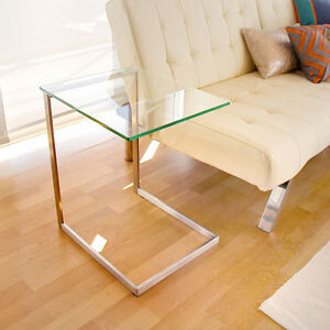 modern glass C table LumiSource Zenn Stainless Steel/ Glass End