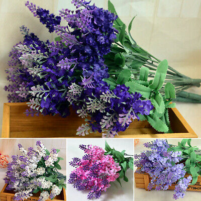10Pcs Bouquet Artificial Silk Lavender Fake Garden Plant Flower Home Decor - Lavender Decorations