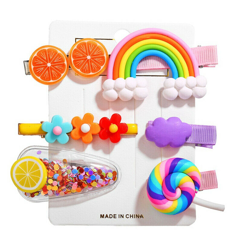 6Pcs//Set Girls Kids Fruit Hair Clips Snap Hairpin Barrettes Hair Bow Accessories