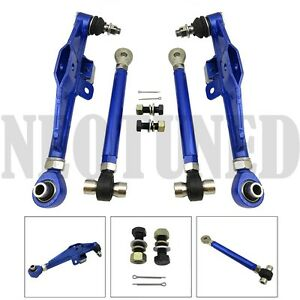 BLUE FIT 89-94 240SX 180SX S13 ADJUST FRONT LOWER CONTROL ARM+HIGH ANGLE TENSION