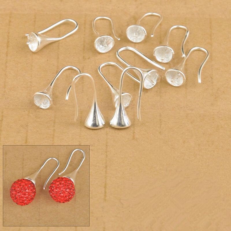 TOP DIY Design Jewelry Findings Silver Smooth Pinch Bail Earring Hook Earwire LB