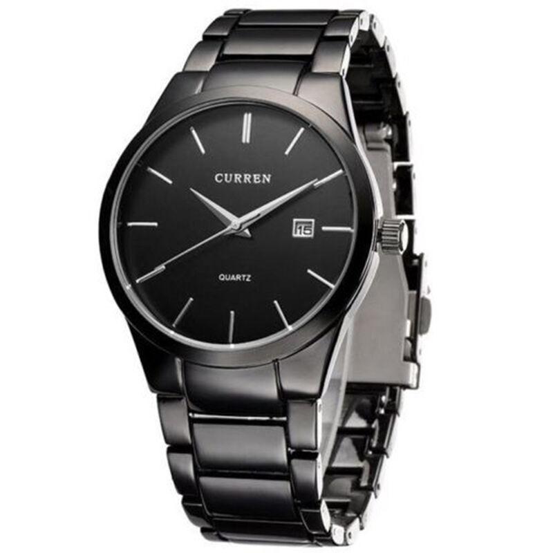 Mens Watches - CURREN Men Fashion Military Stainless Steel Analog Date Sport Quartz Wrist Watch