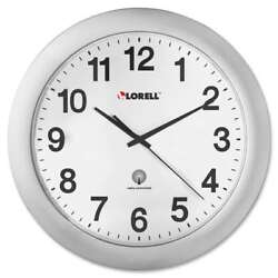 Lorell Round Profile Radio-controlled Wall Clocks, Silver - LLR60996