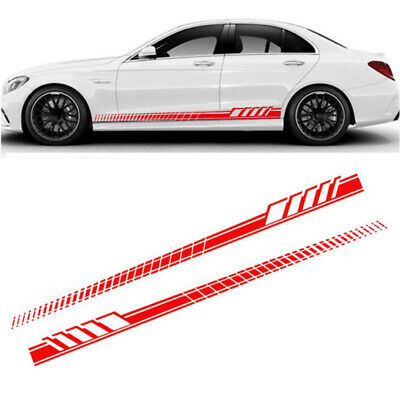 2pcs Red Car Body Stickers Decals Side Skirt Vinyl Racing Long Stripes Decor DIY