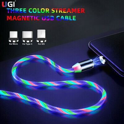 LED Flowing Light Up Magnetic TypeC Micro USB Charger Charging Cable For Android