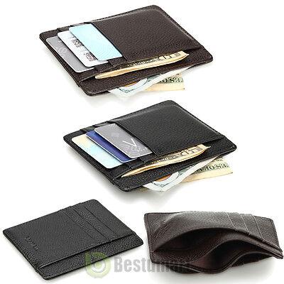 Men's Women's Leather Money Clip ID Credit Card Wallet Holder Slim Pocket Case - Leather Womens Money Clip