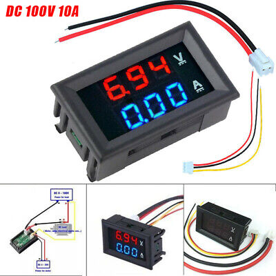 Dc 100v 10a Voltmeter Ammeter Blue Red Led Amp Dual Digital Volt Meter Gauge New
