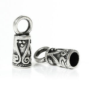 30 Cord End Caps Tips Kumihimo Ornate Pattern Antique Silver Tone 14mm J33747
