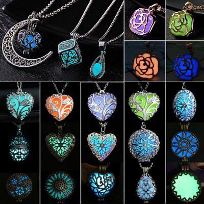 Luminous Steampunk Magic Fairy Locket Heart Glow In The Dark Pendant Necklace - Glow In The Dark Jewelry