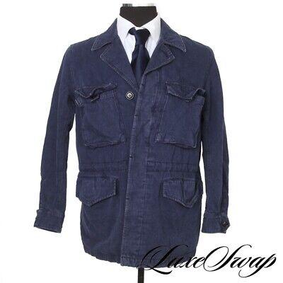 #1 MENSWEAR Sage de Cret Japan Navy Linen Blend Cinchwaist Field Parka Coat S NR