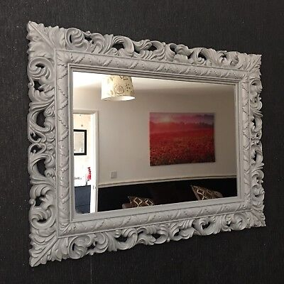 Grey Resin  Style French Ornate Mirror Large Vintage Wall Dressing Table Mirror
