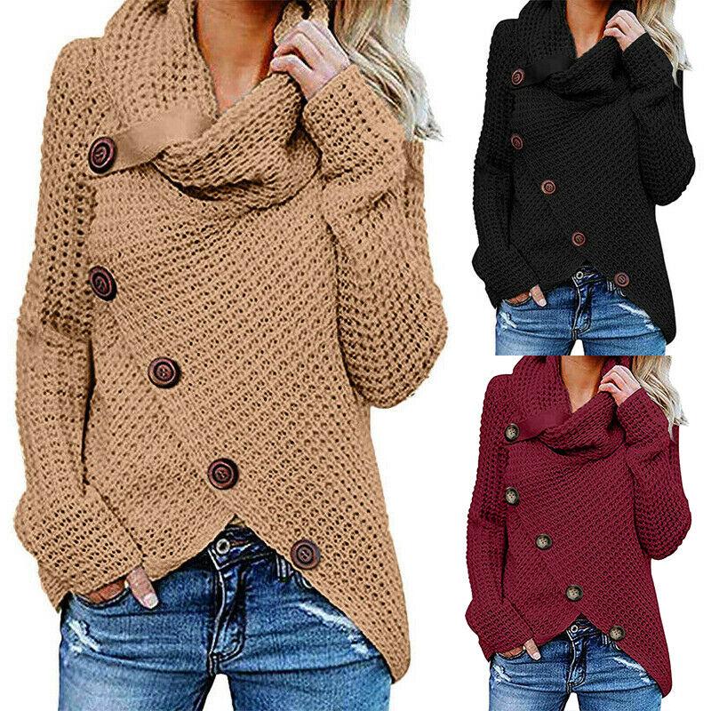 Damen Pullover Pulli Langarm Strickjacke Mantel Cardigan Poncho Sweater Cape Top
