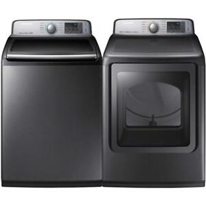 Samsung Platinum WA50M7450AP Top Load Washer 5.8 Cu. Ft And Samsung DVE50M7450P 7.4 Cu. Ft. Electric  Platinum Dryer