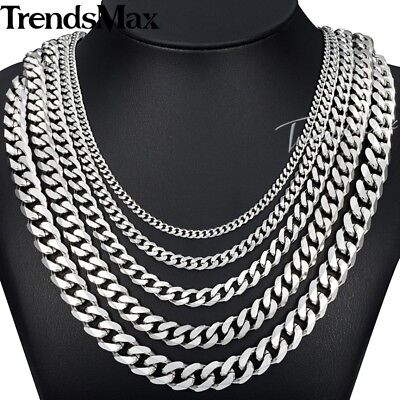 Necklace - 18-36'' MENS Stainless Steel 3/5/7/9/11mm Silver Tone Cuban Curb Chain Necklace