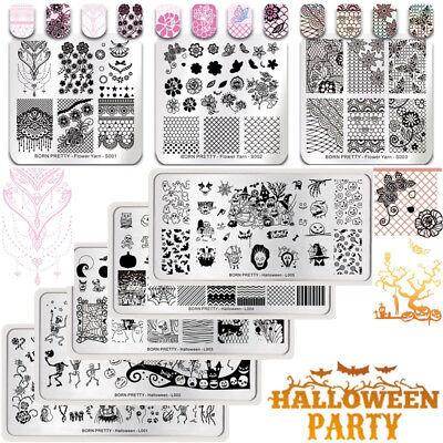 BORN PRETTY Nail Art Image Stamping Plates Halloween Lace Printing Templates DIY - Diy Halloween Nail Art
