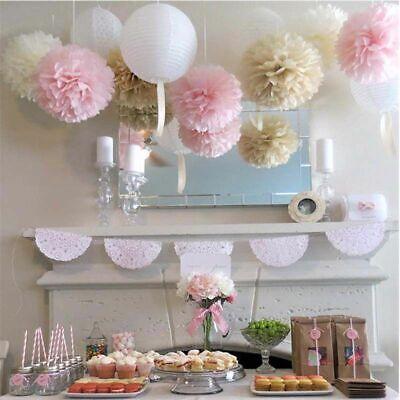10x gemischte Seidenpapier Pompom Pom Poms hängen Garland Hochzeit Party Decor