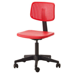 3 red ikea desk chairs