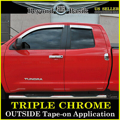 Extended Cab 4 Door (For 2007-2019 Tundra Extended Cab 4 Door Chrome Vent Window Visors Rain)