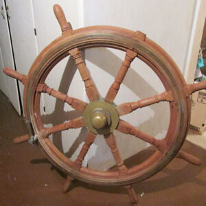 Large 47 in  Mahongany and Brass Antique Ship's wheel