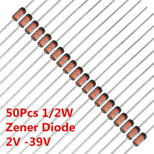 50Pcs 1/2W 0.5W Zener Diode Diodes 4.3V 3.3V 3.9V 4.7V 5.6V 33V 2V-39V