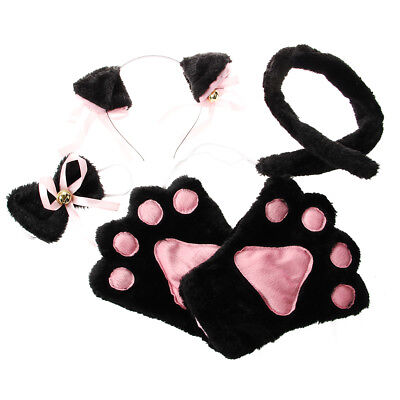 Black Pink Cat Cosplay Set Paw Claw Gloves Ear Hairclip Tail Bow Tie Costume (Black Tie Kostüme)