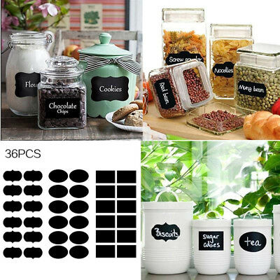 36pcs Removable Sticker Label Chalkboard Jars Tags Pantry Canister Kitchen Chic (Chalkboard Jars)