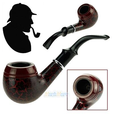 Dark Red Durable Wooden Wood Smoking Pipe Tobacco Cigarettes Cigar Pipes NEW