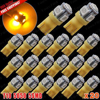 20X Car T10 Amber Yellow Led 5050 5Smd Wedge Light Bulb W5w 194 168 2825 158 192