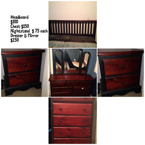 6 piece pine bedroom set