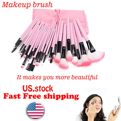 Professional 32pcs Pink Wood Makeup Brush Brushes Lip Eye shadow Cosmetic Sets