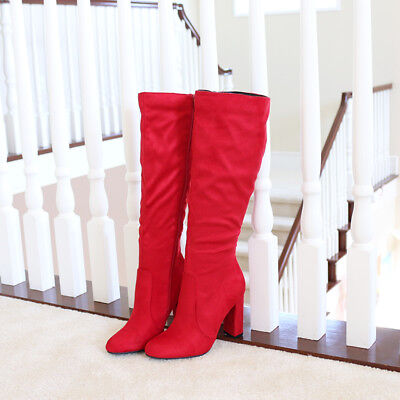 "Simple Edge Vegan Suede 4"" Covered Thick Heel Knee High Boots True Red"
