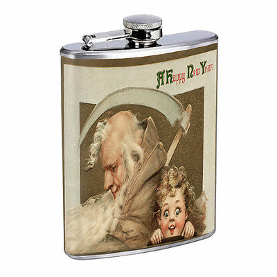 Vintage New Years Eve D1 Flask 8oz Stainless Steel Hip Drinking Whiskey - New Years Eve Drinks