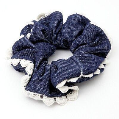 Handmade Denim fabric Heart Lace Line Hair holder Scrunchie