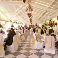 125 White Chair Covers and sashes - 8 different colours