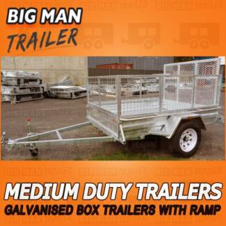 7x5 Ramp ✽ No Brake With Cage Medium Duty Galvanized Trailers