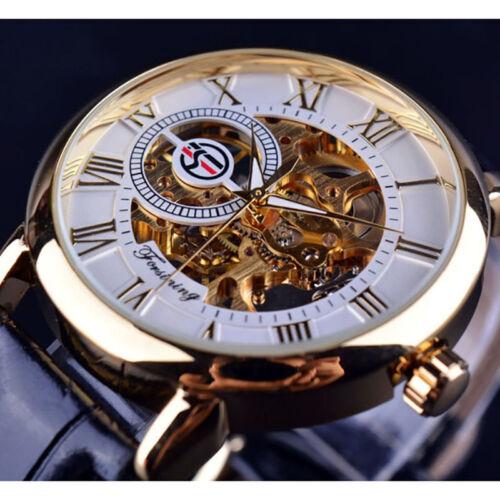 Vintage Herren Forsining Leder Armbanduhren Gold Automatik Skelett Steampunk Uhr