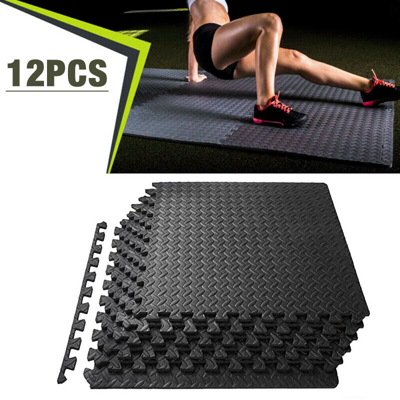 12PCS Exercise Floor Mat Gym Garage Home Tiles Flooring Fitness Yoga Workout