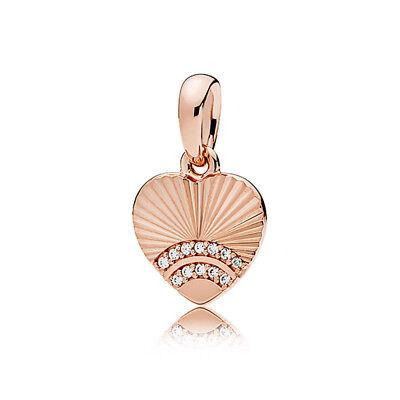 European Rose gold 1pcs heart  CZ charms Beads Fit 925 Necklace Bracelet Chain