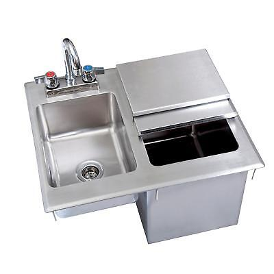 Bk Resources 21wx18dx18d Stainless Steel Drop-in Ice Bin With Sink