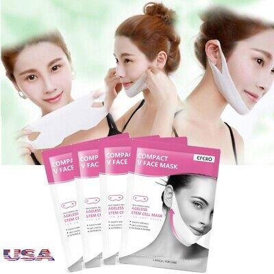 4Pc V-Shape Thin Face Mask Slimming Lifting Firming fat burn Double Chin V-line - Fat Mask