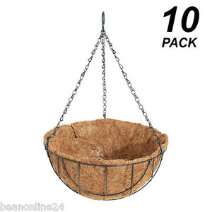 10-Pack-x-30cm-Hanging-Baskets-Garden-Planters-with-Liner-Hang-Chain