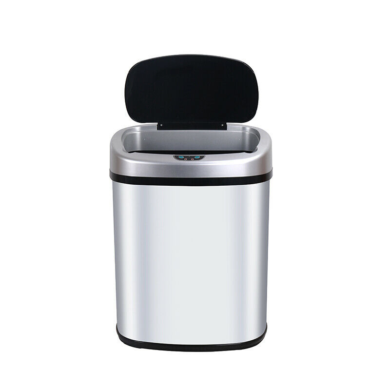 13-Gallon Touch Free Sensor Automatic Touchless Trash Can Kitchen Office Ash Bin General Household Supplies