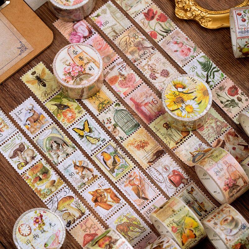 1 Roll Vintage Mushroom Plants Stamp Washi Tape Diary Scrapbooking Stickers DIY
