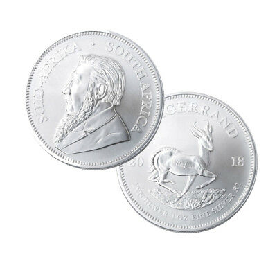 Lot of 100 Silver 2018 South Africa 1 oz Krugerrand .999 fine Coins 4 Mint Rolls
