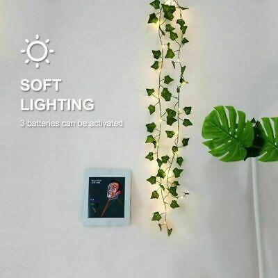 2M 20LED Leaves Ivy Leaf Garland Fairy String Lights Party Garden Decor Lamps US