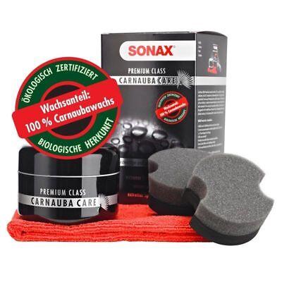 SONAX Premium Class Carnauba Care Wachs Hartwachs 200 ml + Schwamm & Tuch