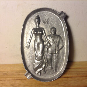 Vintage Cast Aluminum Naughty Ashtray Man Grabbing Woman's