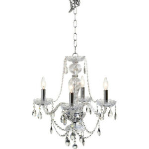 Elegant 4-Light Chrome & Crystal Chandelier – SPOTLESS!!