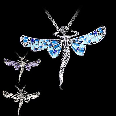 (Vintage Retro Dragonfly Angel Crystal Pendant Chain Long Jewelry Necklace Gift)